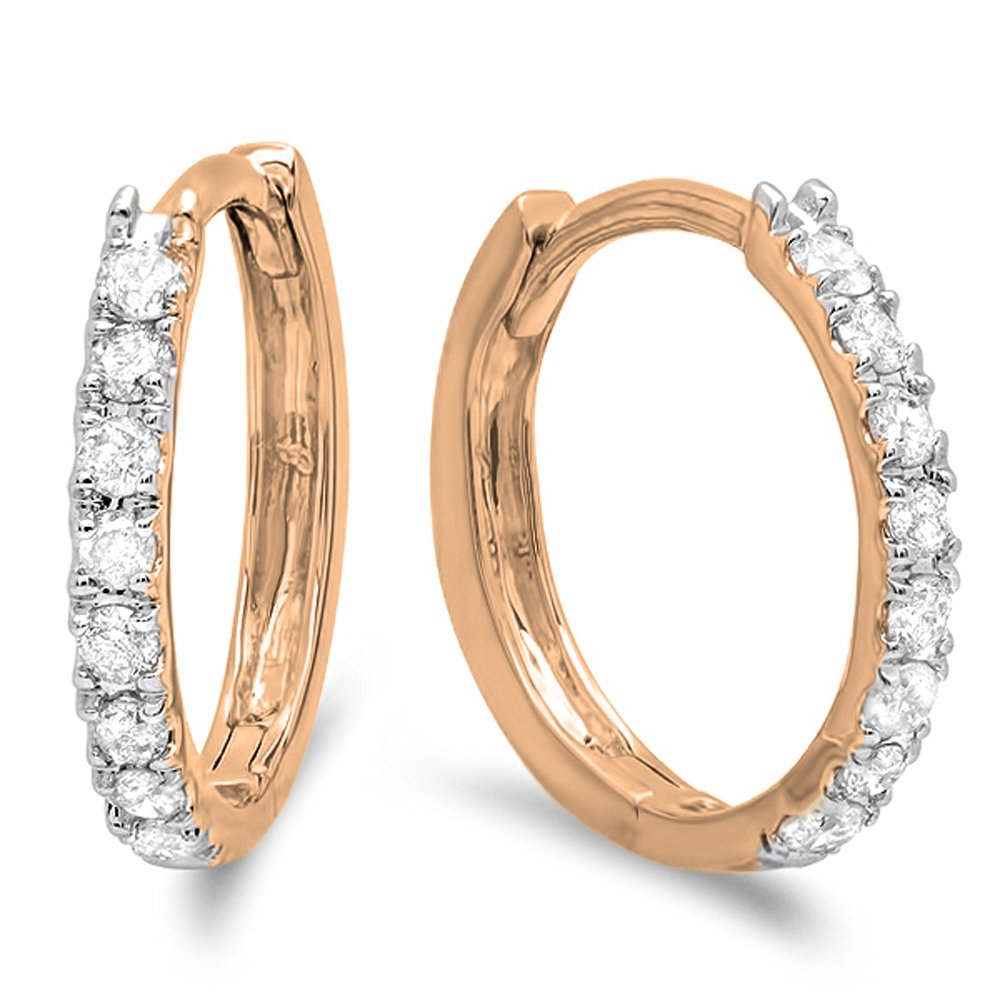 0.22 Carat (ctw) 10K Rose Gold Round White Diamond Ladies Huggies Hoop Earrings 1/4 CT