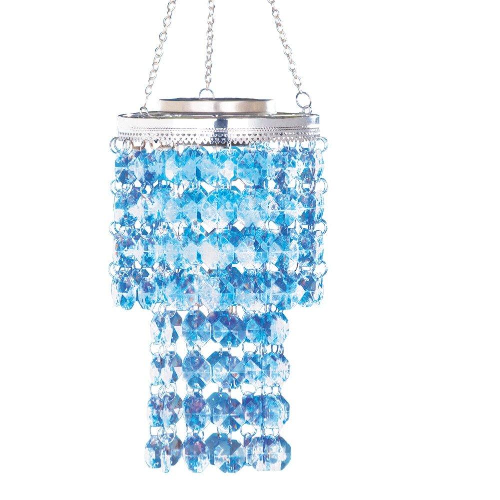 Lighted solar crystal chandelier dangler blue amazon arubaitofo Choice Image