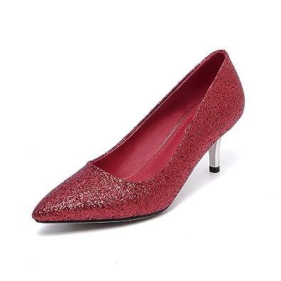 AgooLar Damen Spitz Zehe Niedriger Absatz Weiches Material Rein Ziehen auf Pumps Schuhe, Rot, 33