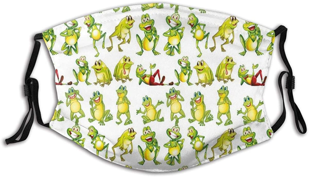 CHATAE Frogs in Different Positions Funny Happy Cute Expressions Faces Toads Cartoon Washable and Reusable Cotton Warm Face