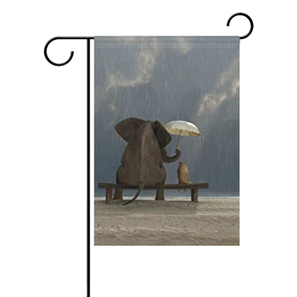 Cooper Girl Funny Elephant Sit On Bench Hold The Umbrella For Dog Garden  Flag Yard 12x18