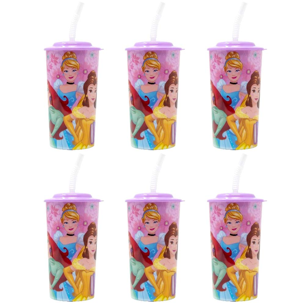 6-Pack Disney Princess 16oz Reusable Sports Tumbler Drink Cups with Lids & Straws, Pink by Zak Designs