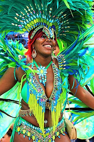 Home Comforts Peel-n-Stick Poster of Carnival Notting Hill Costume Headgear Festival Vivid Imagery Poster 24 x 16 Adhesive Sticker Poster Print
