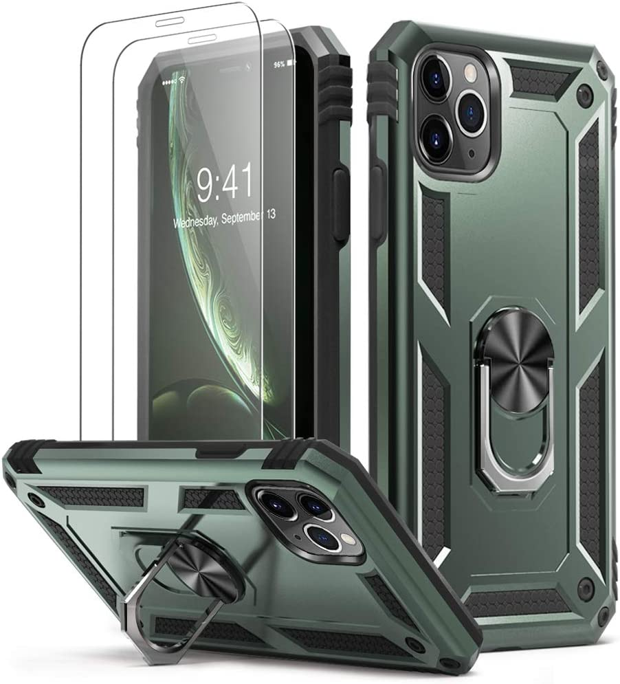 KUMEEK iPhone 11 Pro Max Case | Military Grade Armor 15ft. Drop Tested Protective Case | 2 Pack Tempered Glass Screen Protector | Ring Magnetic Car Mount Kickstand for iPhone 11 Pro Max, Pine Green