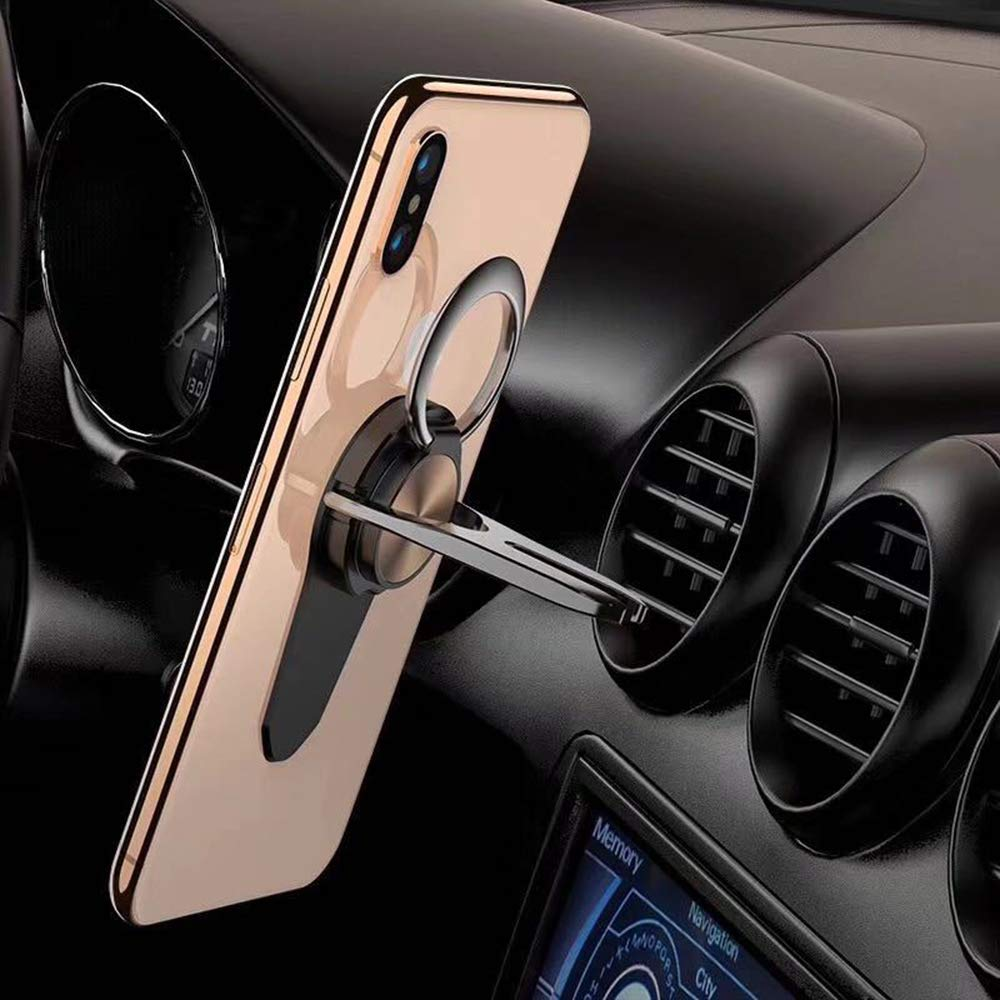 Gold Winique 3 in 1 Air Vent Mount Phone Ring Holder Finger Kickstand 360/°Rotation Metal Ring Grip for Magnetic Car Mount Compatible with All Smartphone