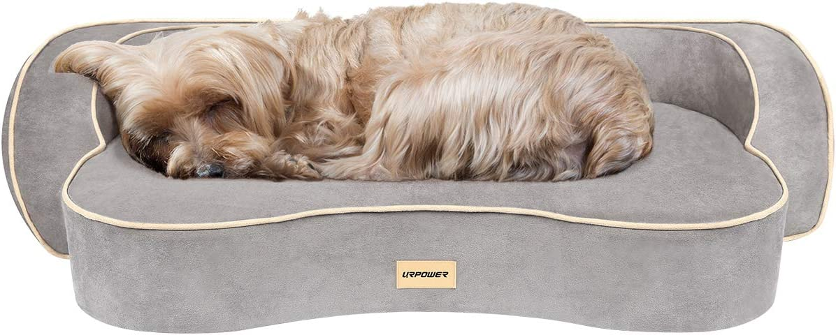 URPOWER Dog Bed, Orthopedic Memory Foam Pet Bed with Washable Cover Water-Resistant Inner Liner Padded Rim Cushion Couch Dog Beds Pet Sofa Lounger Bed for Dogs Cats
