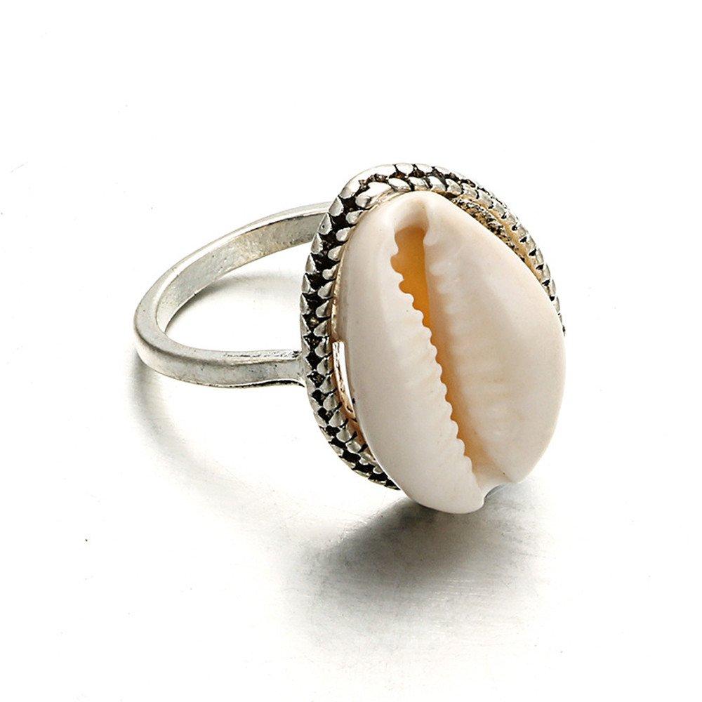 HUAMING Fashion Wild Shell Simple Ring Gorgeous White Women Jewelry Ring Wedding Bridal Gifts (White)