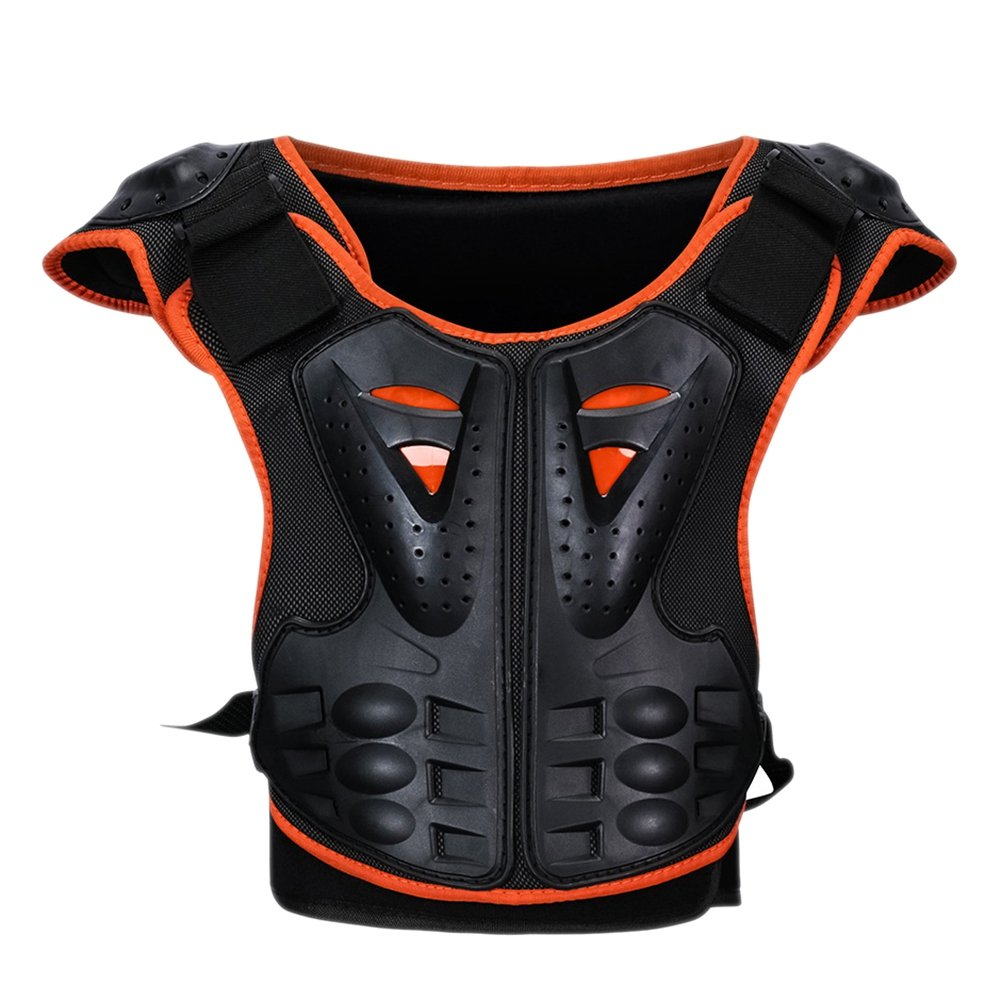 Aesy Childrens Kids Body Amour Skating Skiing Chest Back Spine Protector Vest, Anti-fall Gear Motorbike Protection Vest Motocross Body Guard Protective Armour (S) C-22