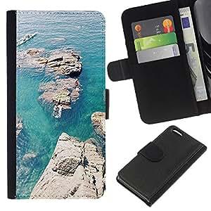 For Apple Iphone 5C Case , Rocks Canoe Blue Sea Ocean - la tarjeta de Crédito Slots PU Funda de cuero Monedero caso cubierta de piel