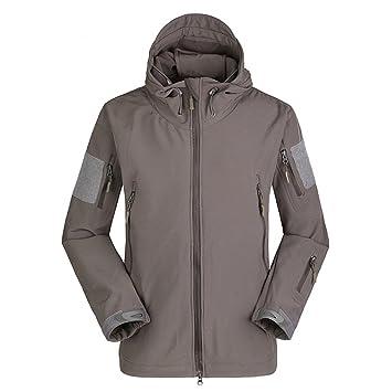 Fochu@ Hombres impermeable al aire libre polar caza Tactical Softshell chaqueta con capucha abrigo