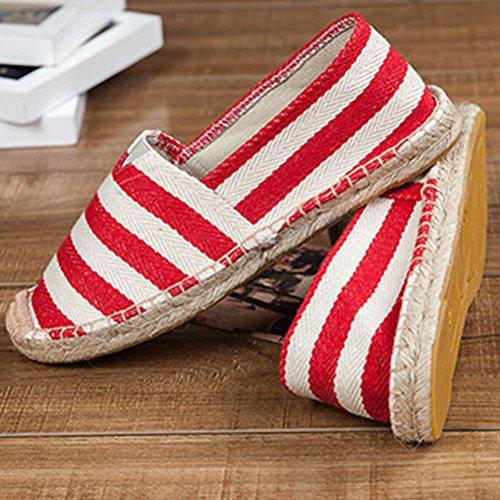1 Unisex Scarpe Slip Espadrillas On Casuali rosso Flats Basse Vogstyle Stile UwqSdzxOOp