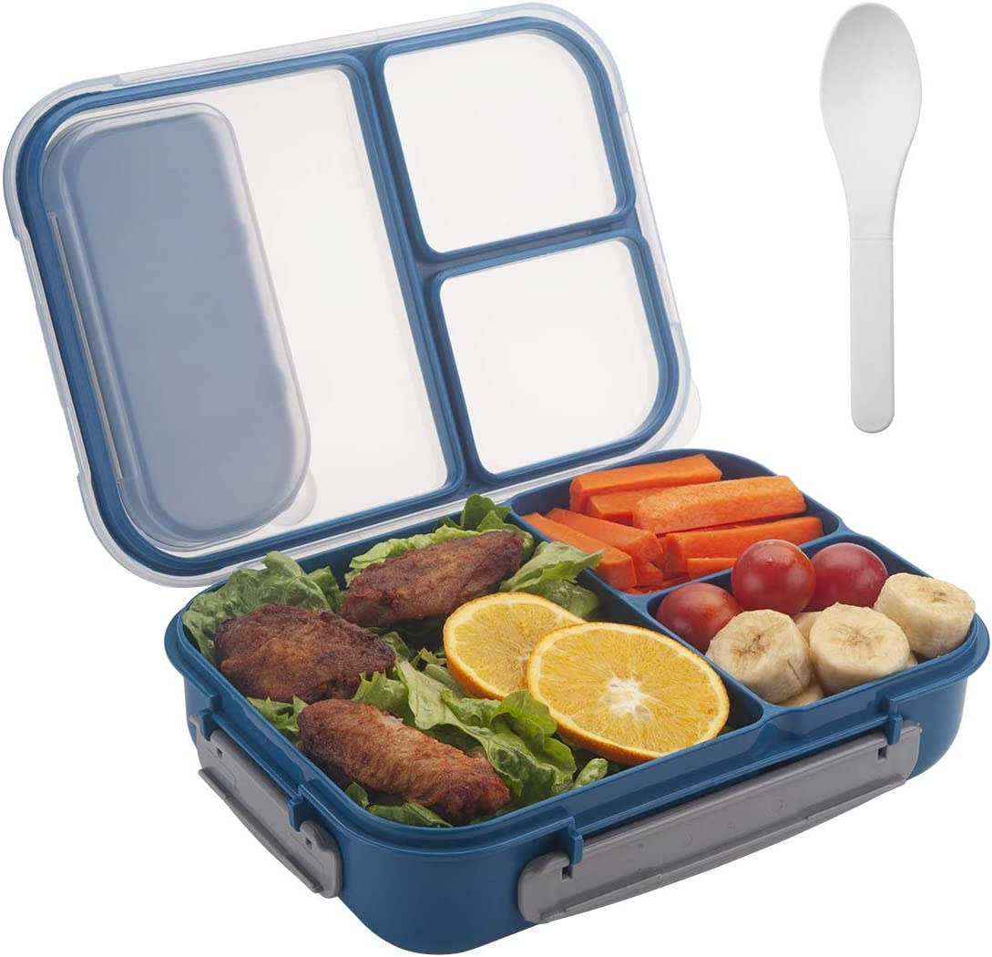 Freshmage Lunch Box Containers for Kids, Adult, Food Meal Prep Containers Leak-proof with 3 Compartments Dividers and Spoon -- Blue