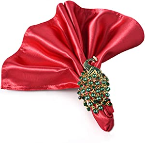 QTKJ Set of 6 Metal Napkin Rings Crystal Peacock Napkin Buckles Holder for Wedding,Parties, Dinners, Christmas, Holidays Decor (Green)