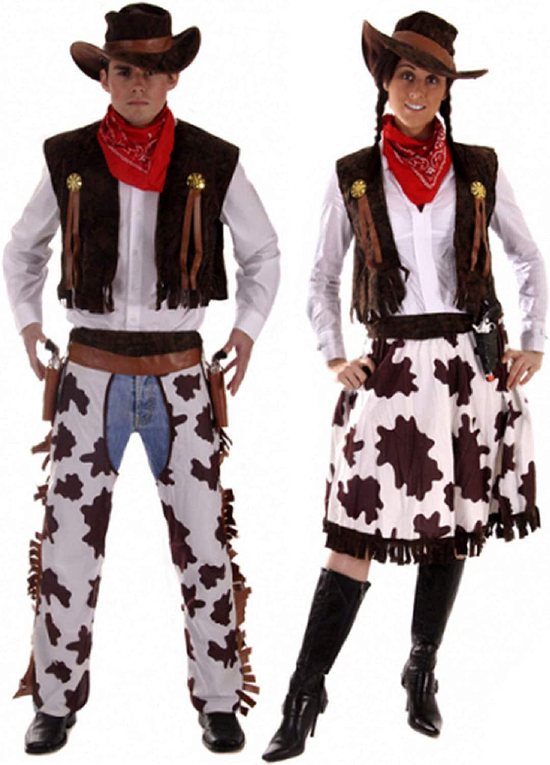 Couples Cowboy & Cowgirl Woody & Jessie Wild West Fancy Dress Outfits Plus  Size & Standard (Ladies 5-5 & Mens STD)