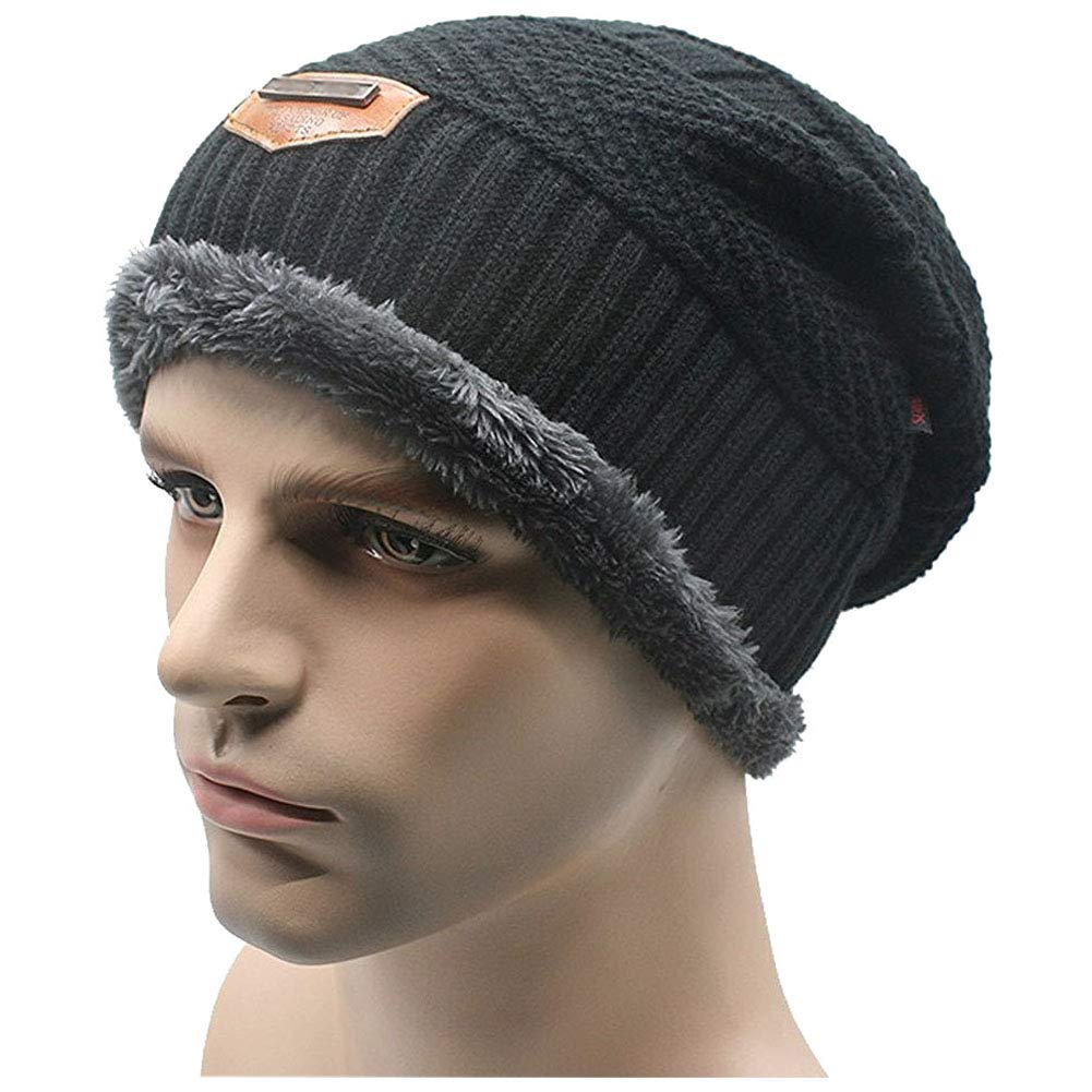 Men s Warm Winter Soft Lined Thick Wool Knit Skull Cap Slouchy Beanies Hat  at Amazon Men s Clothing store  5aa91a1ab7d