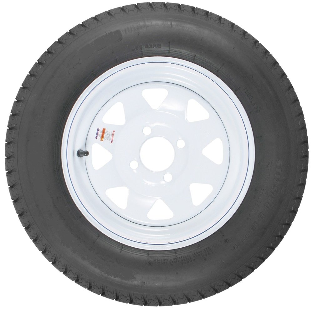 H188 13'' x 4.5'' White Spoke Trailer Wheel with bias ST17580D13C Tire Mounted (4-4 bolt circle)
