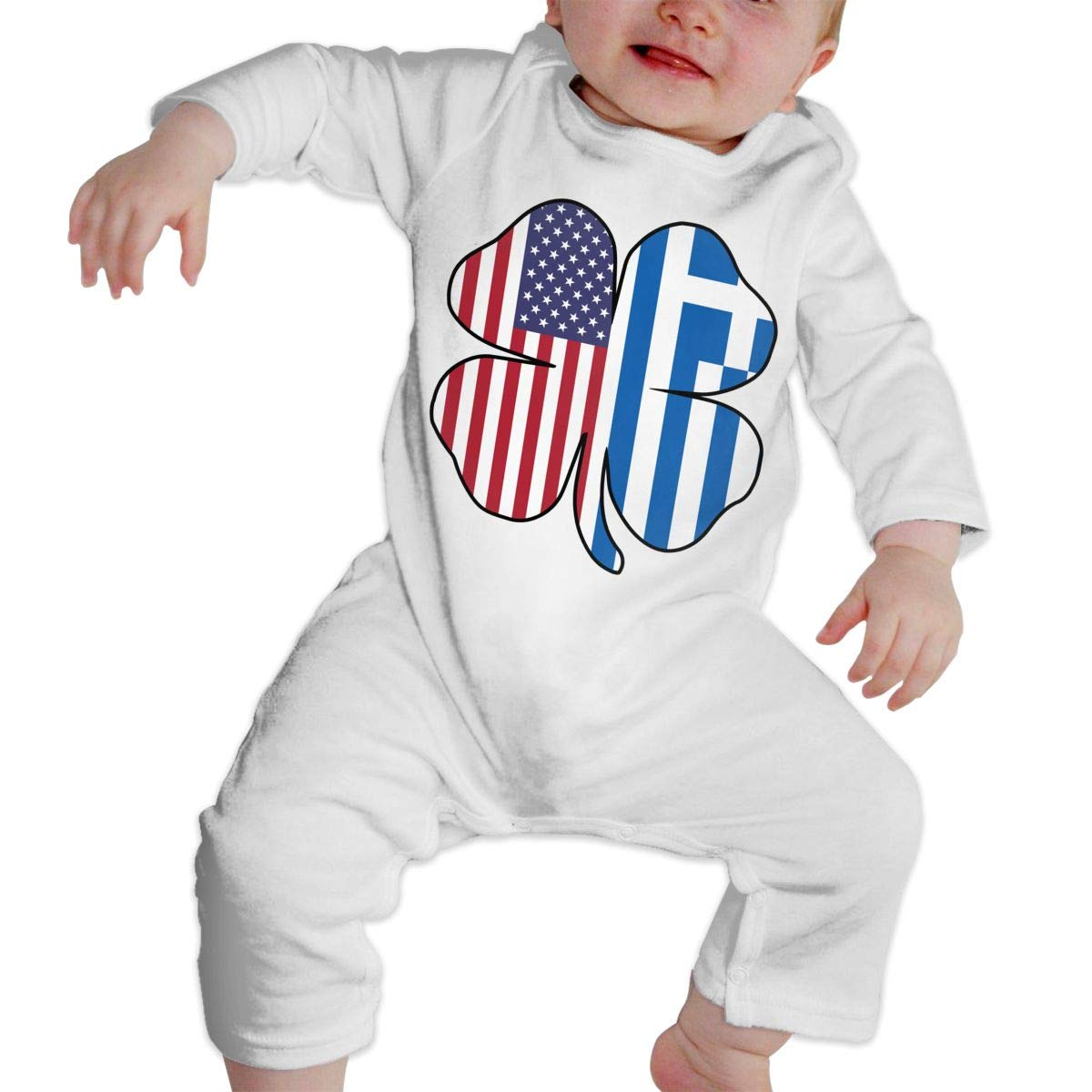 A1BY-5US Infant Babys Cotton Long Sleeve American Greece Greek Flag Shamrock Climb Romper Funny Printed Romper Clothes