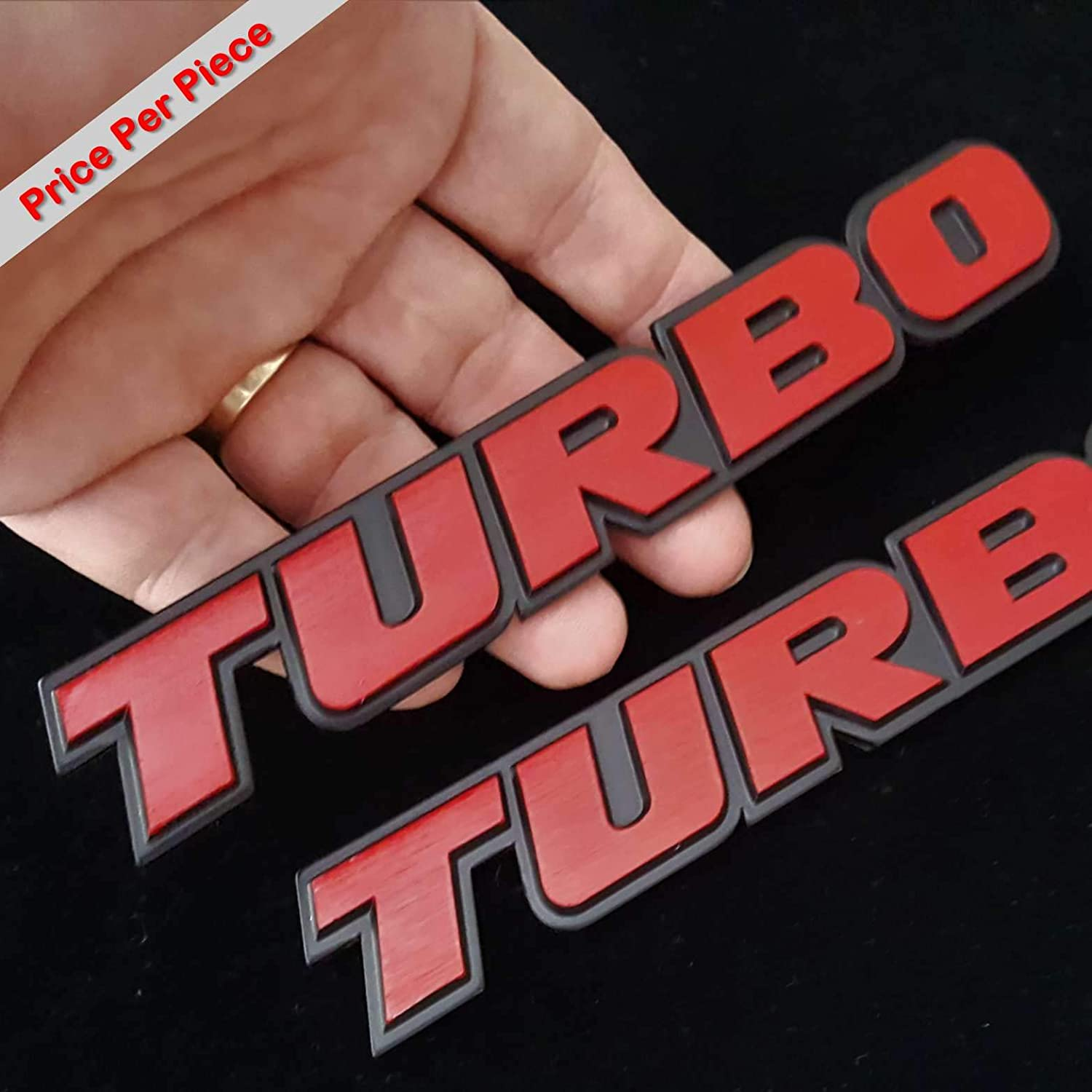 Turbo Red Hq Aluminium Metal Car 3D Badge Emblem Brushed Alloy Logo Auto Adhesive Fender Swap Trunk Hood Side Replacement Decal Sticker Truck Van Sports Diy Name Plate SAISDON 1 Piece 5282