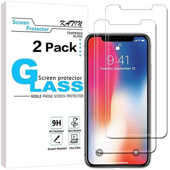 finest selection 1f0e6 78ad1 KATIN iPhone X Screen Protector - [2-Pack] for Apple iPhone X/iPhone 10  Tempered Glass Screen Protector [3D Touch][Case Friendly] with Lifetime ...