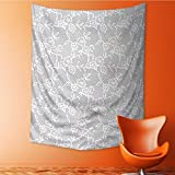AmaPark Home Decor Tapestry by Grey Islamic Art Inspired Oriental Turkish Lace with Impression White Wall Hanging for Bedroom Living Room Dorm 60W x 91L Inch