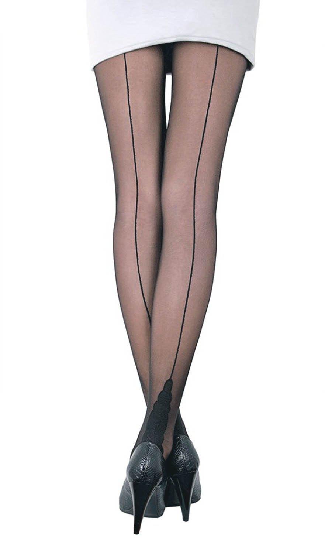Conte Stella Women's Sheer Back Seam Pantyhose Tights with Decorative Heel - Black (Nero), Medium