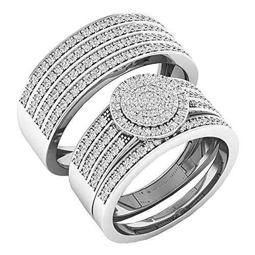 Dazzlingrock Collection 0.80 Carat (ctw) 10K Round White Diamond Men & Women's Engagement Ring Trio Set 3/4 CT, White Gold
