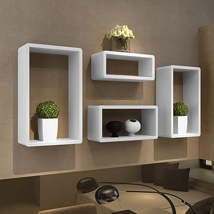 Mensole Design Per Cucina.Senluowx Mensole Design Mdf Da Parete 4 Cubi E Bianco