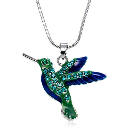 15893dff7 PammyJ Hummingbird Jewelry - Bird Charm with Blue and Green Crystal Pendant  Necklace for Women,