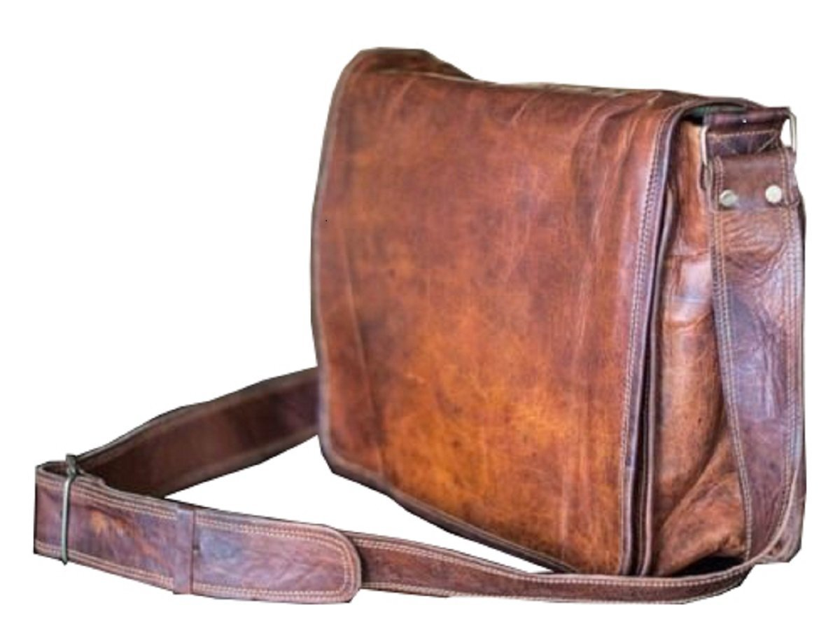 15 Inch Leather Full Flap Messenger Handmade Bag Laptop Bag Satchel Bag Padded Messenger Bag School Brown (15X11)