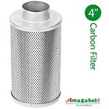 (US) 4 Inch Carbon Filter Air Scrubber Odor Control Air Purifier Activated Charcoal Filter Carbon Scrubber with Pre-filter for Inline Fan IAV Hydroponics Greenhouse Indoor Gardening Grow Tent Ventilation