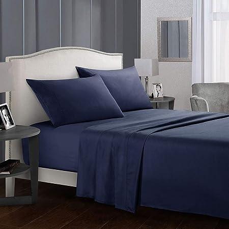 99 x 190 cm Morbido e Traspirant 3 Pezzi Natural Color Completo Letto in Poliestere Azul-Marino YOFASEN Set Lenzuola Matrimoniale