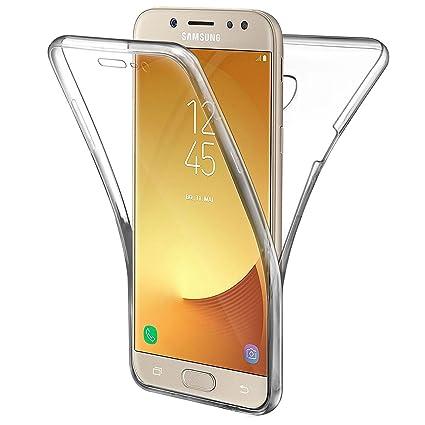 adc110c4856 AROYI Funda Samsung Galaxy J5 2017, Transparente Silicona TPU Carcasa Doble  Cara 360 Grados Full