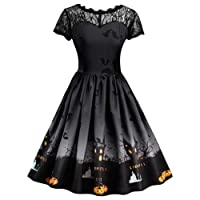 Womens Short Sleeve Retro Lace A Line Swing Dress Ladies Halloween Vintage Pumpkin Printed Dress