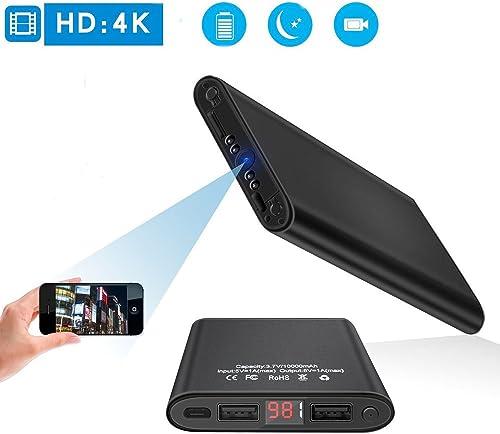 4K HD 1080P Spy Camera – Mini DV WiFi Night Vision Motion Detection Smart LED Light Digital Display PowerBank Portable Camera Nanny Cam for Baby Black