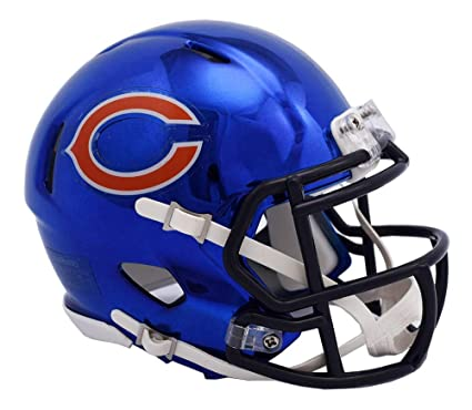 aaf40f604ab Image Unavailable. Image not available for. Color  Chicago Bears - Chrome  Alternate Speed Riddell Mini Football Helmet ...