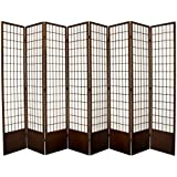 Oriental Furniture 7 ft. Tall Window Pane Shoji Screen - Walnut - 8 Panels