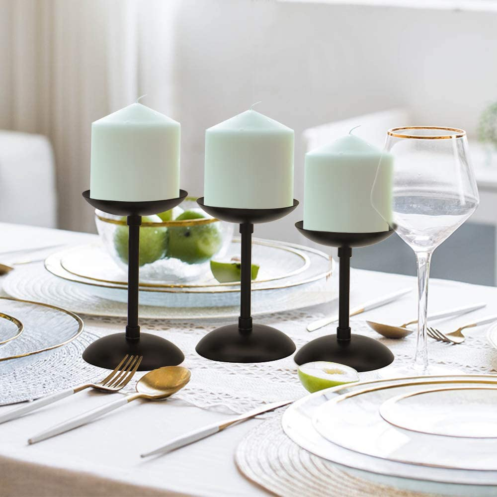 Decorative Iron Candlestick Holders for Home Decor 4.3 /& 4.9 /& 5.7 inch Tall Frieplace Candelabra Christmas Vincidern Black Pillar Candle Holder Plate for Dining Table