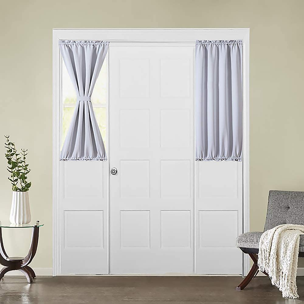 MIULEE French Door Curtain Room Darkening Sidelight Drapes Thermal  Insulated Half Window Treatment Blackout Curtain for Kitchen/Front Doors  with ...