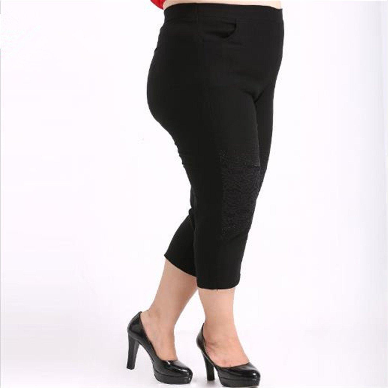 Madehappy Women Pants Plus Size Womens Cropped Trousers Capris Harem Pencil Pants Elastic Waist Slim Hip Black Trousers M259 at Amazon Womens Clothing ...