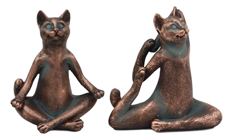 Amazon.com: owzonefigurine Stretching Yoga Cats in Lotus ...