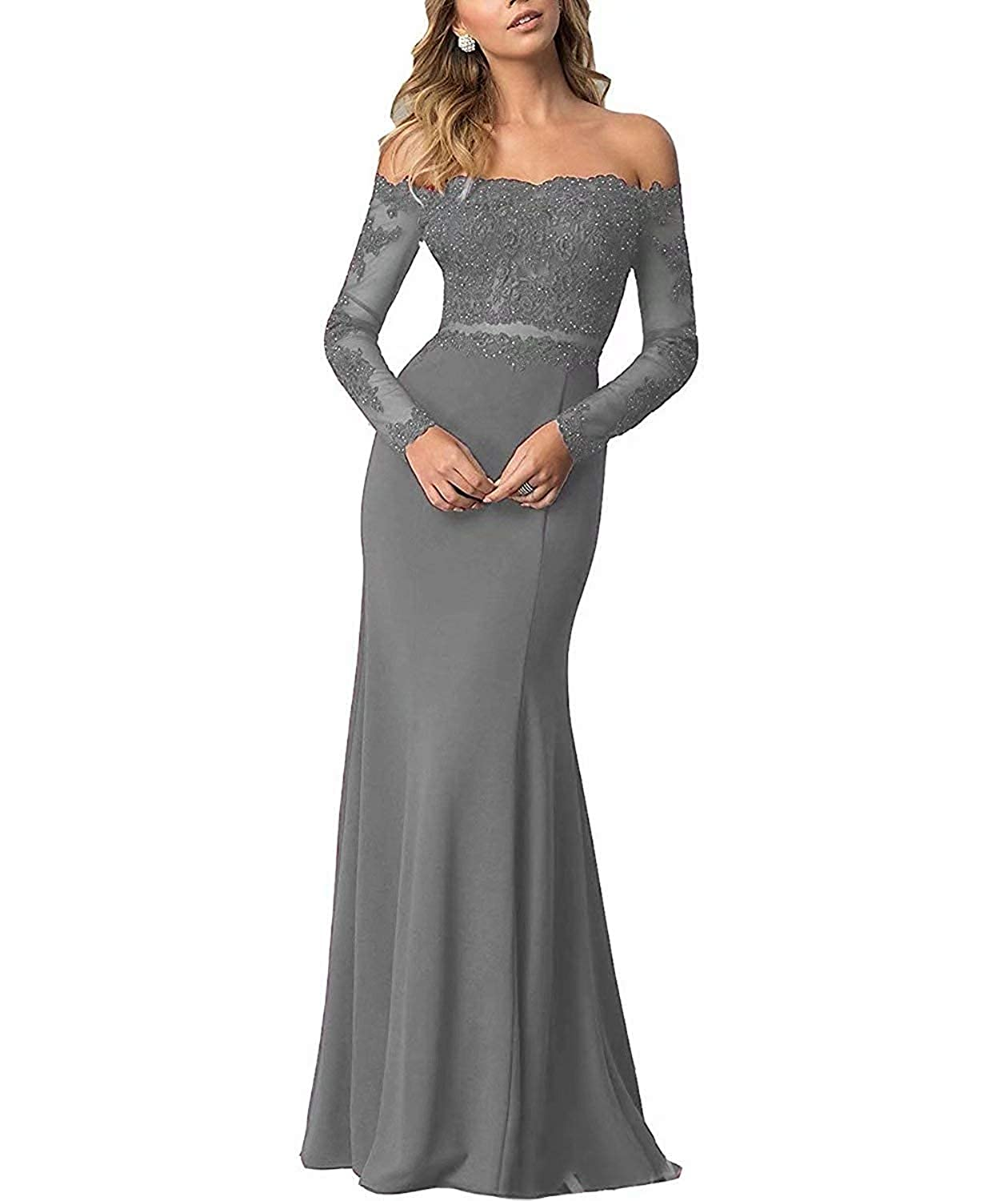Steel Grey ModeC Prom Dresses Long Evening Gowns Lace Mermaid Prom Dress Off The Shoulder Evening Dresses