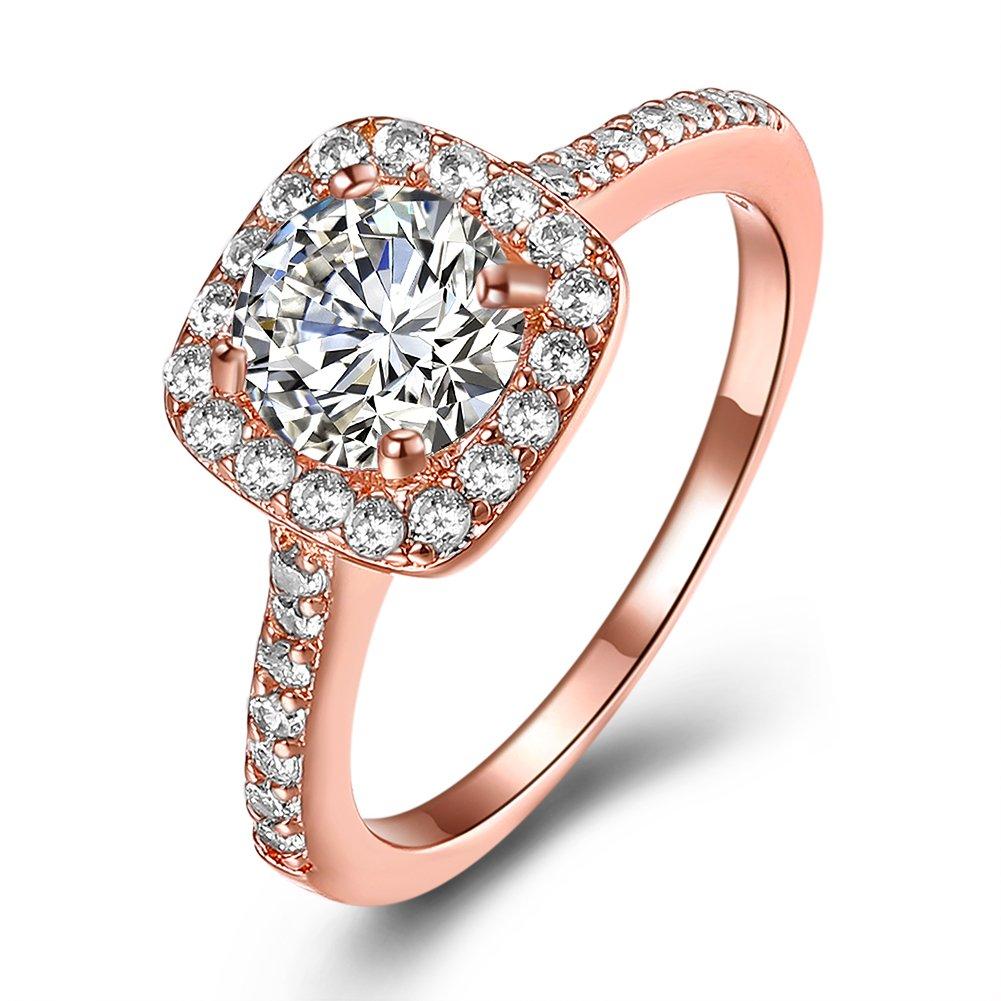 Amour Infini Femme Bague de Fiançailles Alliance Mariage Anneau Anniversaire 18K en Plaqué Or et Zirconium Cubique Diamant Idée Cadeau Jewelry Store 0.01 JPR002-UK