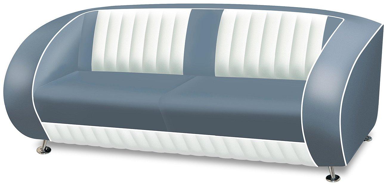 Sofa Dinersofa retro Style Couch Lounge Designer Sofa Wartemöbel (Blue/White)