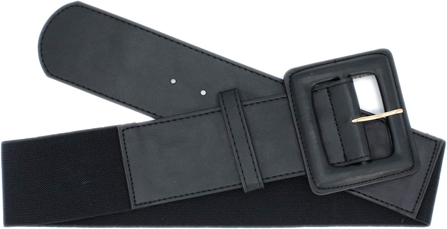 Womens Wide Elastic Belt with Large Frame Buckle