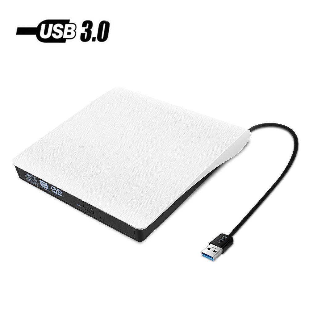 USB 3.0 External DVD Drive,Paragala Ultra Slim External CD Drive Portable CD DVD Player Burner Reader Writer with Built-in Cable,Excellent Optical Drive for Laptop Notebook Macbook and Desktop (White)