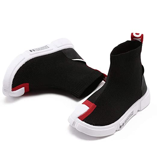 YanHoo Zapatos para niños Carta de los niños Calcetines Zapatos de Malla Transpirable Zapatillas Altas para Ayudar a Estirar los Zapatos Zapatos Casuales ...