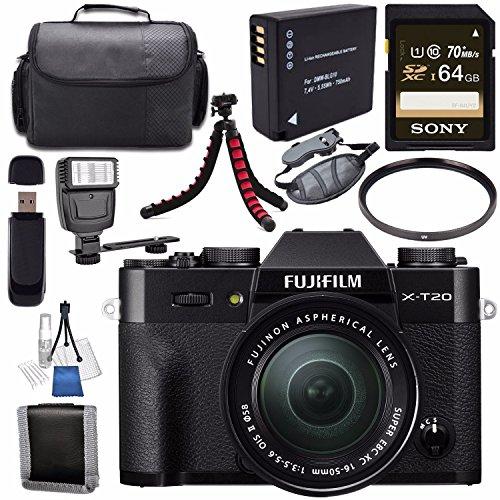 Fujifilm X-T20 Mirrorless Digital Camera 16-50mm Lens (Black) 16543016 + NP-W126 Lithium Ion Battery + Sony 64GB SDXC Card + Carrying Case + Flexible Tripod + Flash + Memory Card Wallet Bundle Review