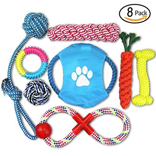 Dog Toy Balls,Chew Toys,Flying Discs,Toy Ropes, Interact Toys 8 Pack Gift Set for Small to Medium Doggie (Disc Guard)
