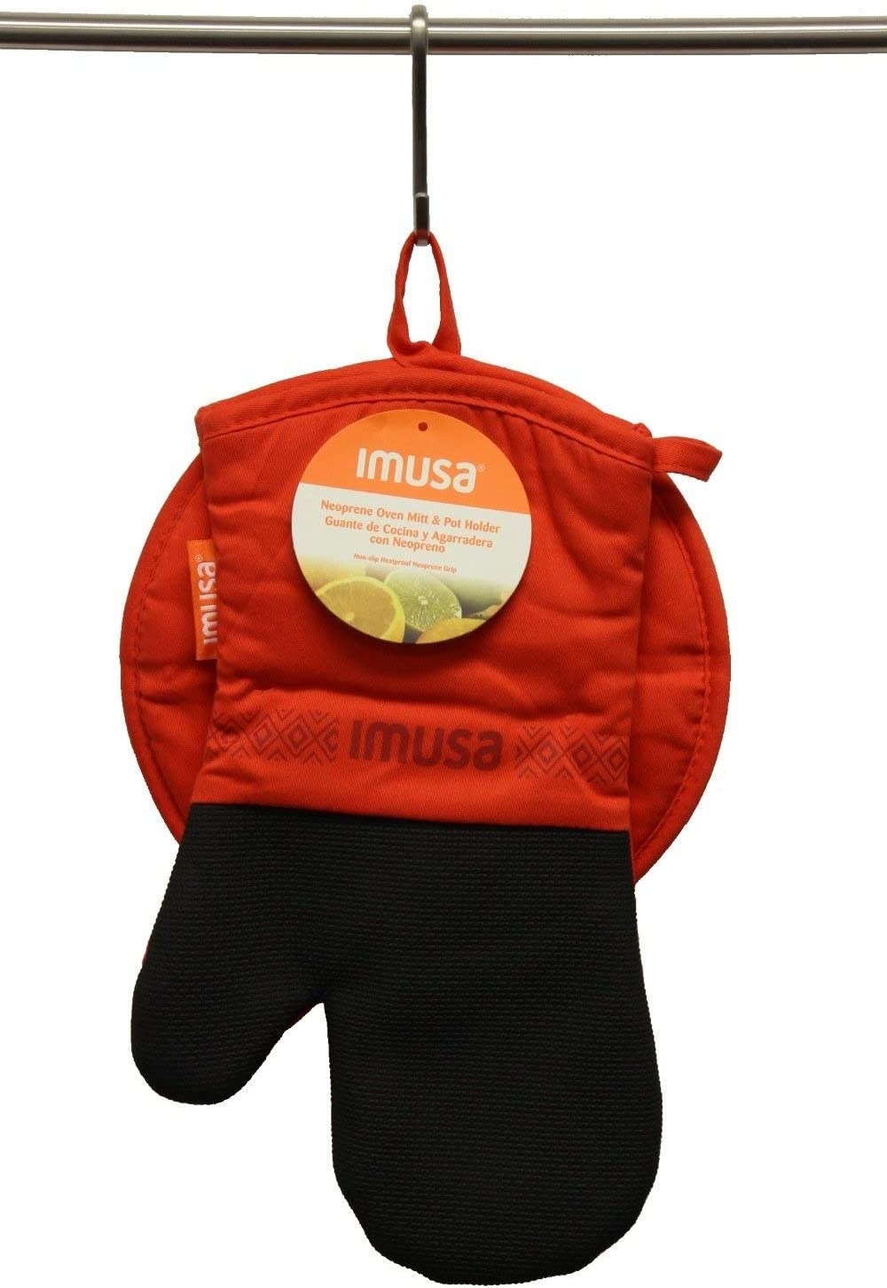 Imusa Oven Mitt & Potholder Set w/Neoprene for Easy Gripping, Heat Resistant up to 500 Degrees, Multiple Colors Available! (Red)