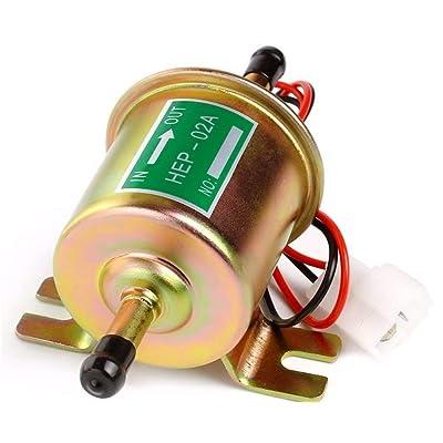 Inline Fuel Pump 12v Electric Transfer Universal Low Pressure Gas Diesel Fuel Pump 2.5-4psi HEP-02A: Automotive